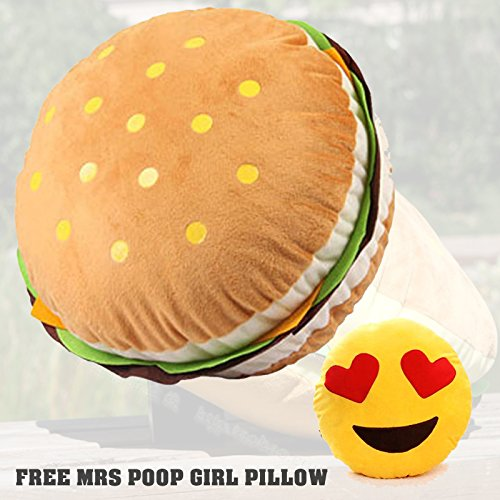 Lovely Decorative Plush Stuffed Cushion Huge Hamburger Throw Pillow Toy, Free Emoji Heart Eye Pillow USA Seller
