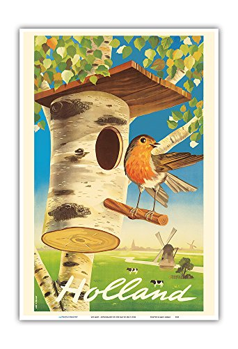 - Pacifica Island Art Holland - Netherlands - Tree Trunk Birdhouse, Dutch Windmills - Vintage World Travel Poster by Cor Van Velsen c.1950s - Master Art Print - 13in x 19in