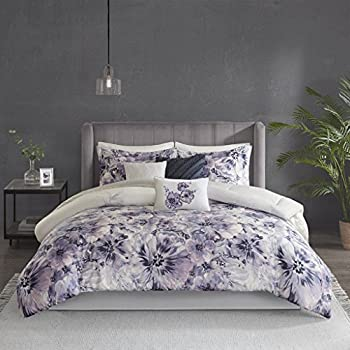 dc1e31faa0e3 Madison Park Enza Comforter Reversible Floral Flower Watercolor Print Cotton  Embroidered Ruffle Pleated Pillow Soft Down Alternative Hypoallergenic All  ...