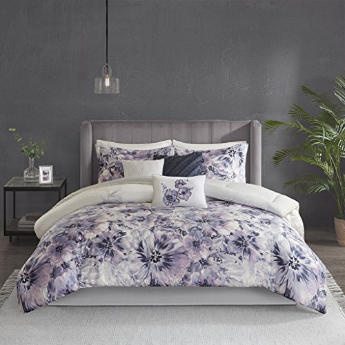 Madison Park Enza Comforter Reversible Floral Flower Watercolor Print Cotton Embroidered Ruffle Pleated Pillow Soft Down Alternative Hypoallergenic All Season Bedding-Set, Cal King, Purple