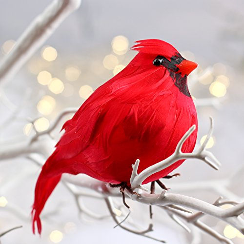 Factory Direct Craft 3 Large Bright Red Plump Fat Artificial Cardinal Birds for Christmas Tree Ornaments
