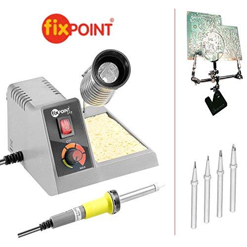 6 piezas Set: Fixpoint Soldadura con soldador, soporte, esponja; Juego con 4 diferentes puntas y 3. Mano/soldadura: Amazon.es: Electrónica