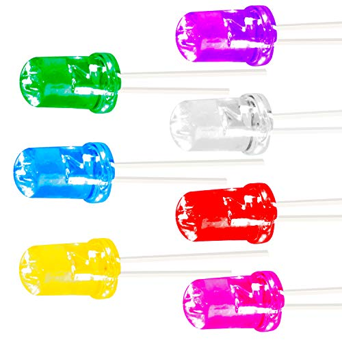 Novelty Place 70 Pcs 5mm Assorted Color LED Diode Lights, [Ultra Bright] Clear Transparent DC 3V 20mA 5mm Emitting Diodes LEDs Bulb for Home DIY Science Project Electronics Components Light ()