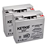 12V 22Ah Deep Cycle AGM / SLA Battery for Wheelchairs Scooters Mobility UPS & Solar - 2 Pack - Genuine KEYKO - Nut & Bolt Terminal