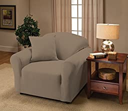 Madison Stretch Jersey Silver Chair Slipcover, Solid