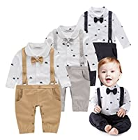 StylesILove Newborn Infant Toddler Sailor Boat Print Faux Suspender Formal Wear Baby Boy Romper