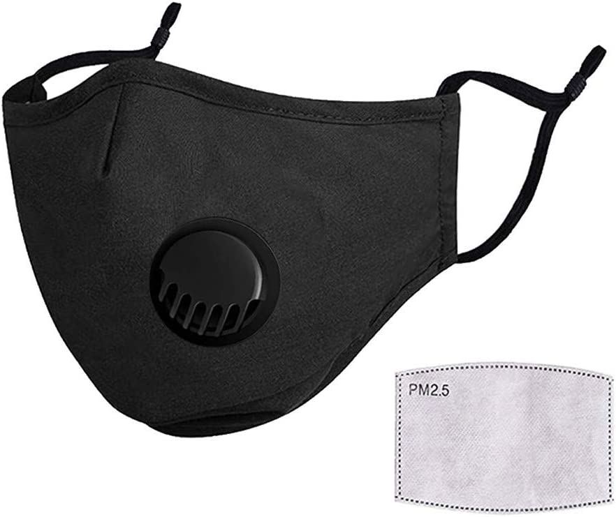 Ussuma Cycling Outdoor Face Bandanas with Valve /& Carbon Filter for Adults Dustproof Washable and Reusable