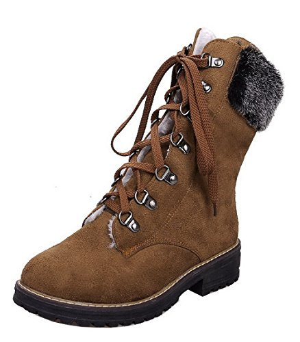 Heels Top Low Low Shoes Brown Women Toe Closed Up Boots Solid Round AgeeMi Suede Lace BvP7Hnn