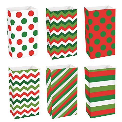 Bottom Paper Flat Bags (Coobey 24 Pieces Christmas Paper Bags Kraft Gift Bag Grocery Party Bags Craft Paper Bags Flat Bottom Treat Paper Bags Party Favor, 6 Designs)