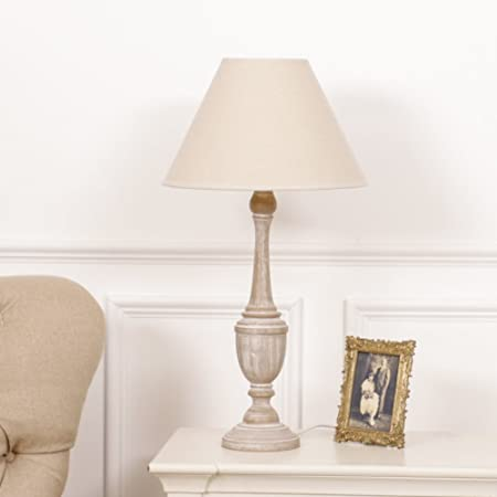 Decorative Distressed Washed Wood Table Lamp With Cream Shade