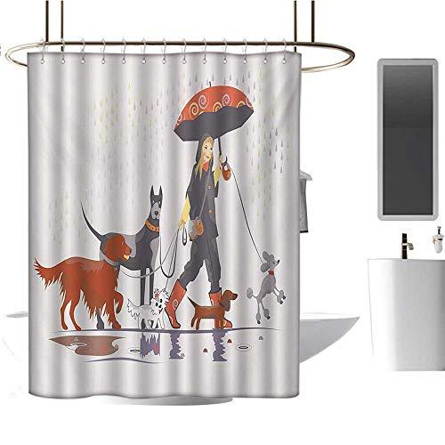 Stevenhome Dog Custom Made Shower Curtain Young Modern Girl Taking Pack of Dog for a Walk in The Rain Fun Joyful Times Artsy Print Bathroom Set with Hooks Multi