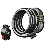 Bike Lock Cable, Popower 4-Feet Resettable Combination Bike Lock with Lock Holder, Bike Locks, 4-Digit, with Mounting Bracket, 4 Feet, 1/2 Inch, Black