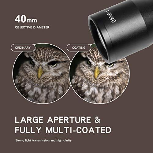 Goetland 3-9x40 Lunettes de Visée Optique R4 Réticule Tactique en Croix Chasse avec Montures 4