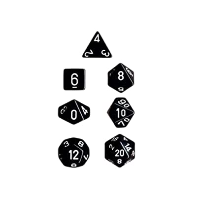 Chessex Dice: Polyhedral 7-Die Opaque Dice Set - Black with White: Toys & Games