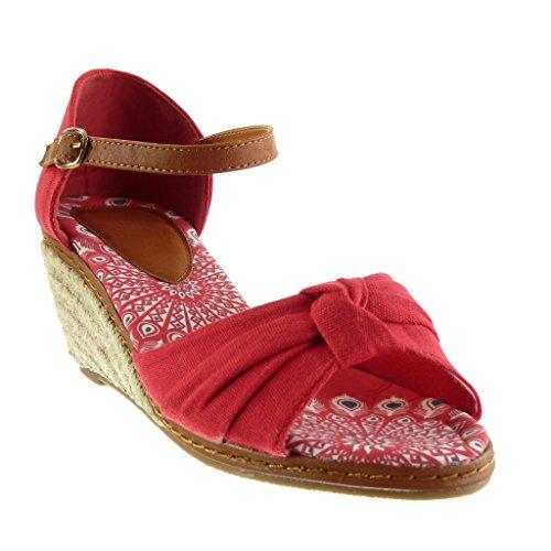 Talon cm Sandale Femme Chaussure Angkorly 7 Mode Compensé Corde Rouge Plateforme Noeud Lanière Cheville Mule AzSOqx
