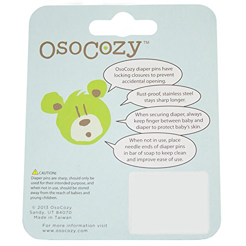 OsoCozy Diaper Pins - {Yellow} - Sturdy, Stainless Steel Diaper Pins with Safe Locking Closures - Use for Special Events, Crafts or Colorful Laundry Pins