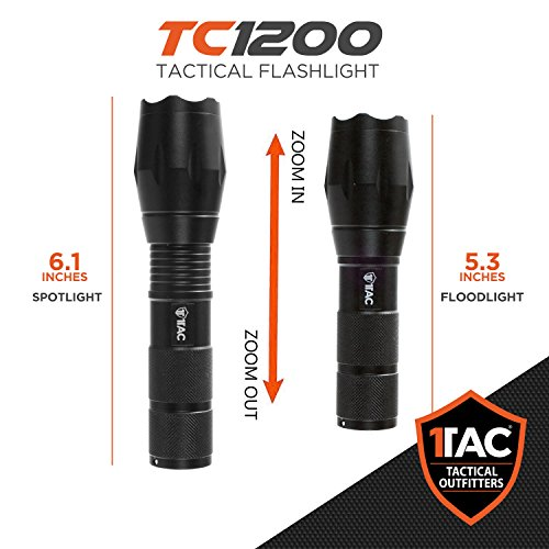 1TAC TC1200 High Power Tactical Flashlight with Real CREE ...