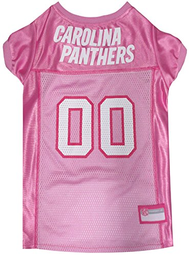 Image of Pets First NFL Carolina Panthers Pet Jersey, Pink, Small