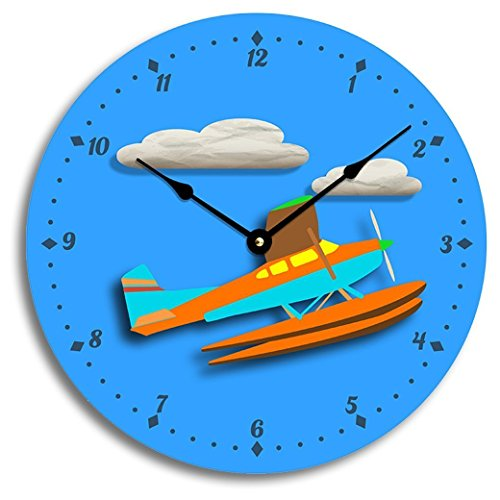 Contemporary airplane or seaplane design 10 inch wall clock. Child's room decor, nursery decor. Cheerful colors.