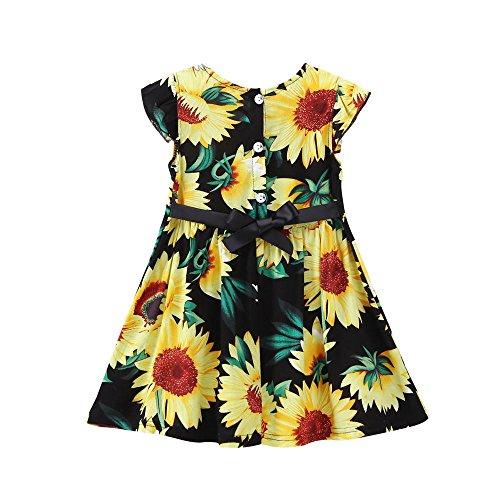 GIFC Children Kids Summer Short Printed Sunflower Floral Fly Sleeve Sundress Dress,Butterfly Bow Belt Skirt (24M(Label Size:100), Black)