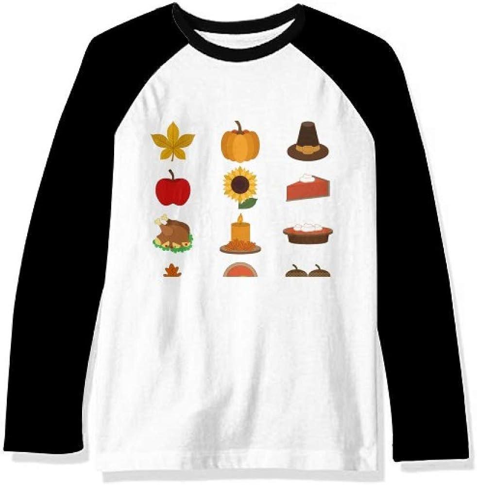 DIYthinker Happy Thanksgiving Day Food Pattern Long Sleeve Top Raglan T-Shirt Cloth