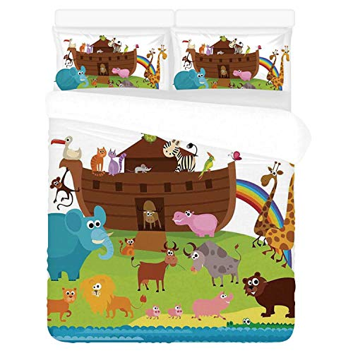 Noahs Ark Comfortable 3 Piece Bedding Set,Various Safe Animals Two of Every Kind Boarding Noahs Ark Clip Art Design Print for Home,Duvet Cover:86