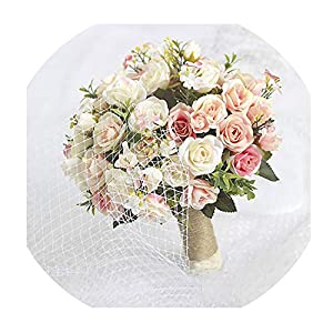 Purple White Wedding Bouquet Handmade Artificial Flower Rose Bridal Bouquet for Wedding Decoration 32