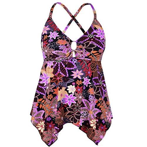 Mycoco Women's Tummy Control Front Tie Swim Top Cross Back Tankini Top Flowy Swimdress Red Floral 16
