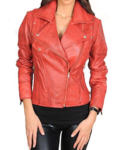 Holly Giacca Attrezzato Zip Croce Stile Vera Pelle Rosso In Morbido Uomo Biker Giacche 4f4UPB