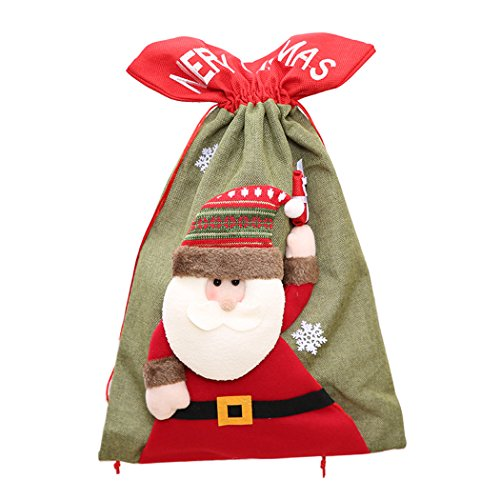 - Coxeer Christmas Gift Bag, Santa Claus Snowman Reindeer Xmas Cloth Bag Drawstring Candy Pouch