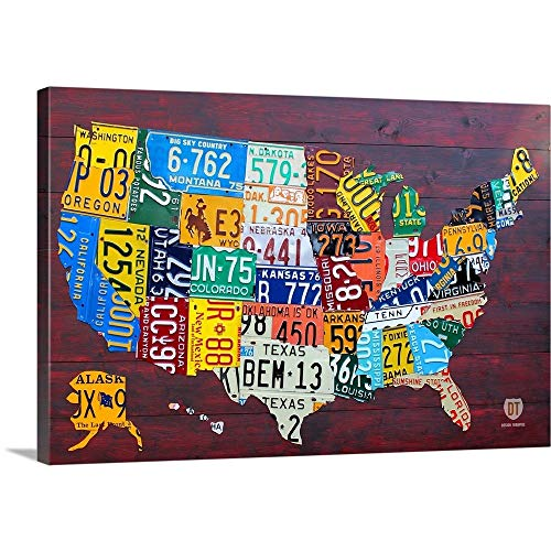 (License Plate Map USA Large Canvas Wall Art Print, 30