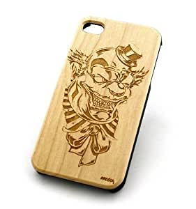 GENUINE WOOD Organic Snap On Case Cover for APPLE IPHONE 5 / 5S - EVIL CLOWN circus harlequin joker creepy by icecream design