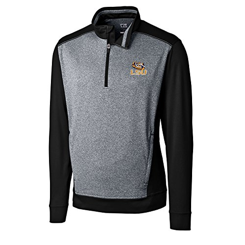 Cutter & Buck NCAA LSU Tigers Adult Men CB Drytec Replay Half Zip, 3X-Large, Black