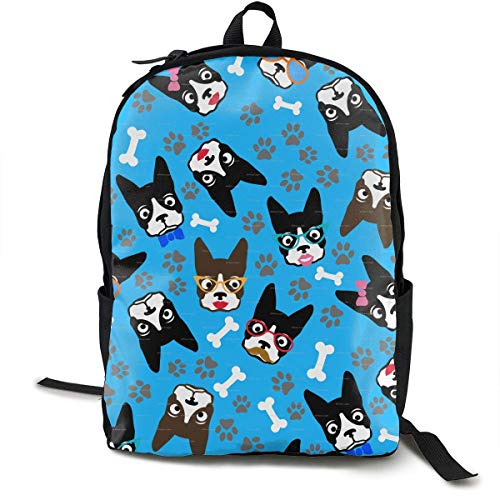 DKFDS Backpacks Dog Boston Terrier Lover Funny Retro Dogs Unisex Classic Lightweight Laptop School Leisure Backpack Water Resistant Travel Bag