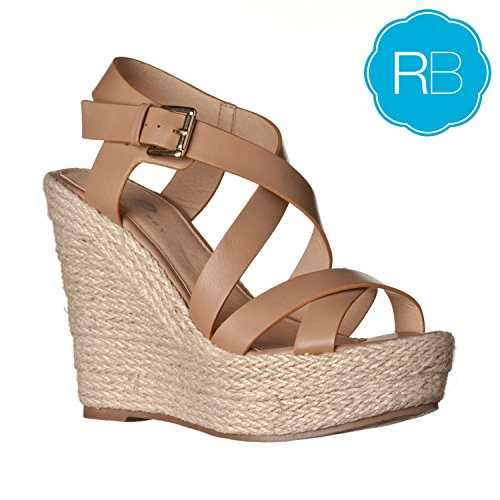 Riverberry Women's Sara Faux Leather Sandal Wedges, Taupe PU, 7