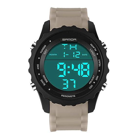 Unisex Sport Running Impermeable muñeca Reloj Digtal (Color : Khaki)
