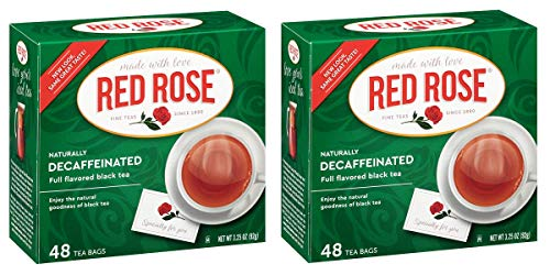 Red Rose Naturally Decaffeinated Black Tea Bags - 48 Count - Pack of 2 (96 Tea Bags -