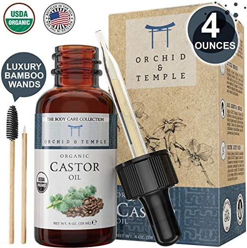 USDA Certified Organic Castor Oil 4 oz Bottle w Premium Bamboo Applicators. Pure and Undiluted. Cold-Pressed, Hexane Free, and Extra Virgin.