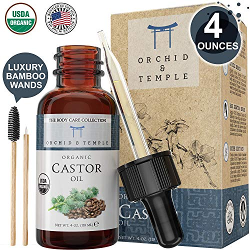 100% Pure USDA Certified ORGANIC Castor Oil Premium LARGE 4oz. Orchid and Temple is BOTTLED IN THE USA. Cold-Pressed, Hexane Free, and Extra Virgin
