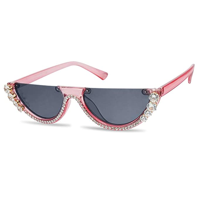 5532e1b4be SunglassUP Super Small Half Moon 1990s Cateyes Sunglasses (Acrylic Pink  Frame
