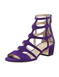 YDN Women Strappy Gladiator Sandals Ankle Booties Block Low Heels Hollow Out Dress Shoes with Zips