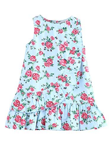 Floral Print Frill Dress Blue (Blue, 8Y)