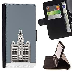 BullDog Case - FOR/Apple Iphone 4 / 4S / - / HOTEL BUDAPEST GREY MINIMALIST BUILDING /- Monedero de cuero de la PU Llevar cubierta de la caja con el ID Credit Card Slots Flip funda de cuer