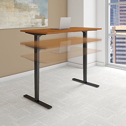 Move 80 Series 72W Height Adjustable Standing Desk in Natural Cherry with Black Base