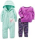 Simple Joys por Carter's Conjunto de Ropa de Juego de 3 Piezas para niñas, Mint/Purple Kitty, 6-9 Months