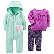 Simple Joys by Carter's Baby Girls' 3-Piece Playwear Set, Mint/Purple Kitty, 3-6 Months