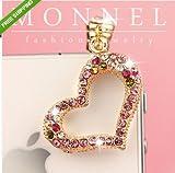 ip401e Luxury Crystal Heart Iphone 4 4S 3GS Smart Phone 3.5mm Ear Cap Anti Dust Plug Charm