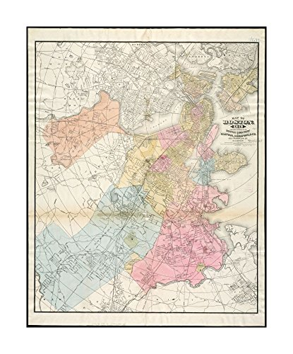 1879 Map Boston Of Boston  For 1879 Covers Parts Of Adjacent Towns   Cities  Including All Of Cambridge  Somerville    Brookline  Entered According To Act Of Congress In Year 1874 By Sampso