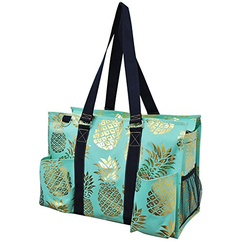 (Southern Pineapple Print NGIL Large Zippered Caddy Organizer Tote Bag Gold Collection)