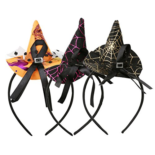 A-SZCXTOP Halloween Headband Witch Hat Costume Headpiece Halloween Masquerade Party 4PCS a Set